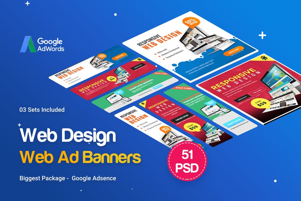 Web Design Banner Ads Mockup: