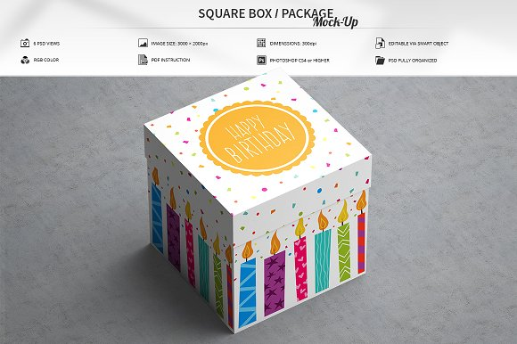 White Birthday Gift Packing Box Template in Customizable PSD Format