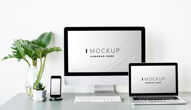 White Computer And Laptop Screen PSD Design