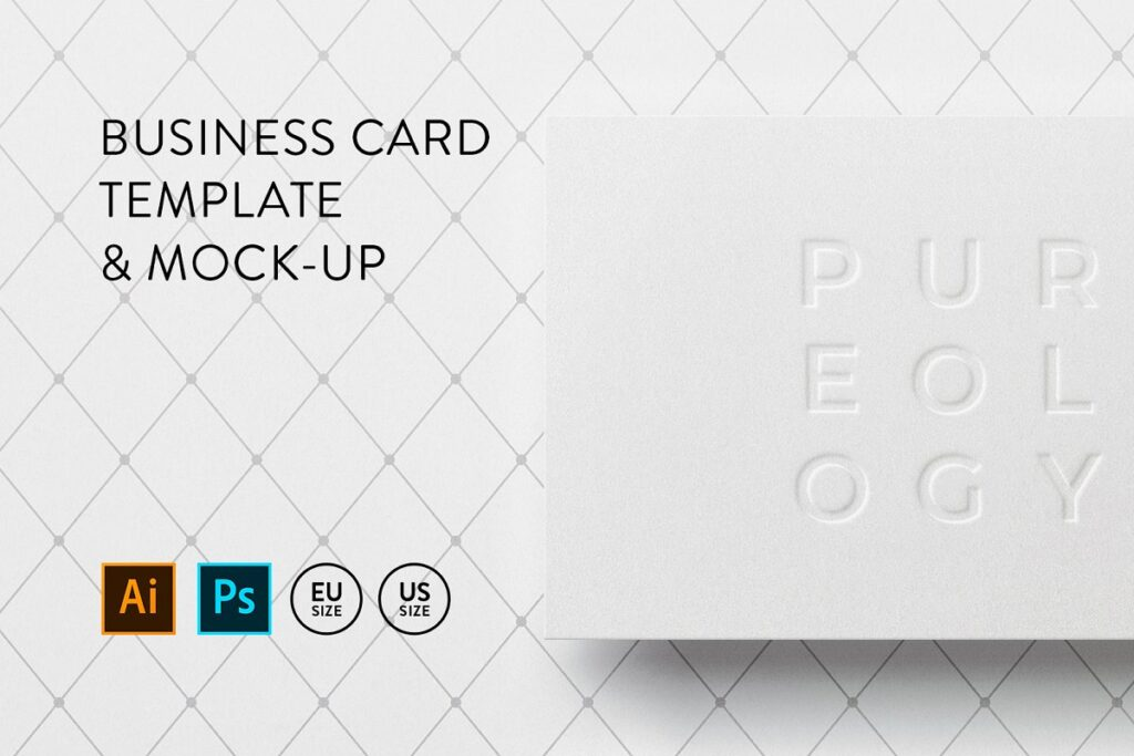 White Text Embossed Business Card Illustration