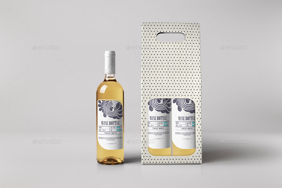 White Wine Bottle and Box Mock-up