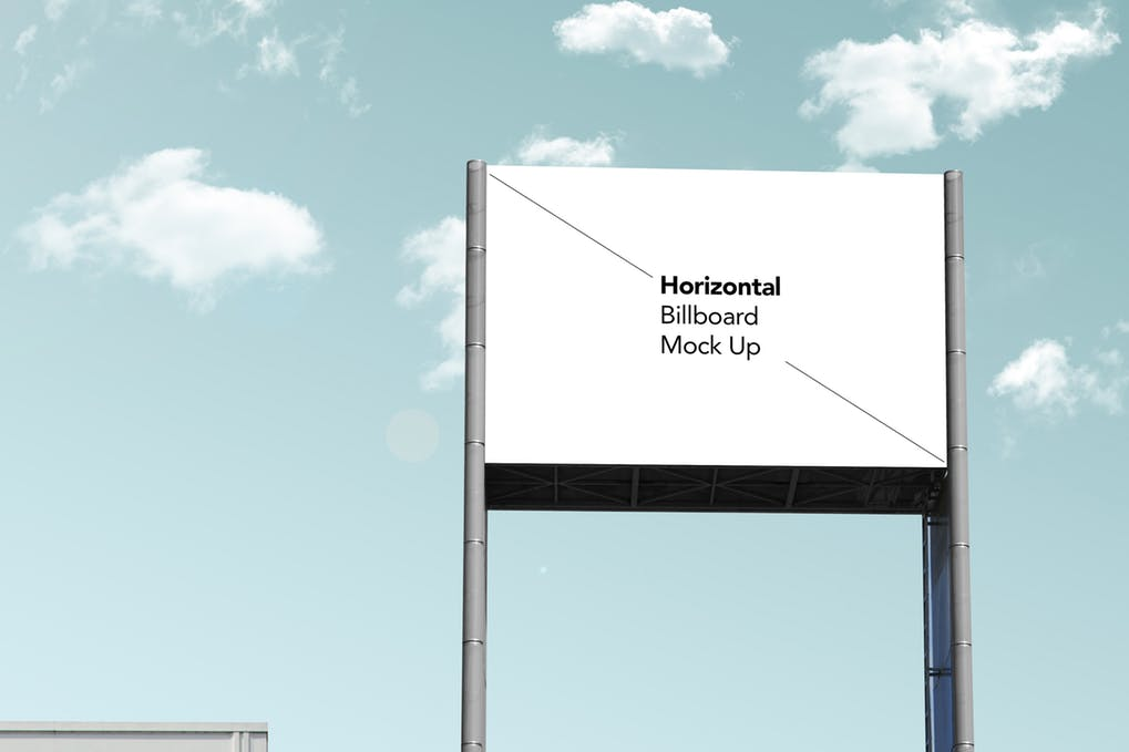 White blank street billboard design in PSD format
