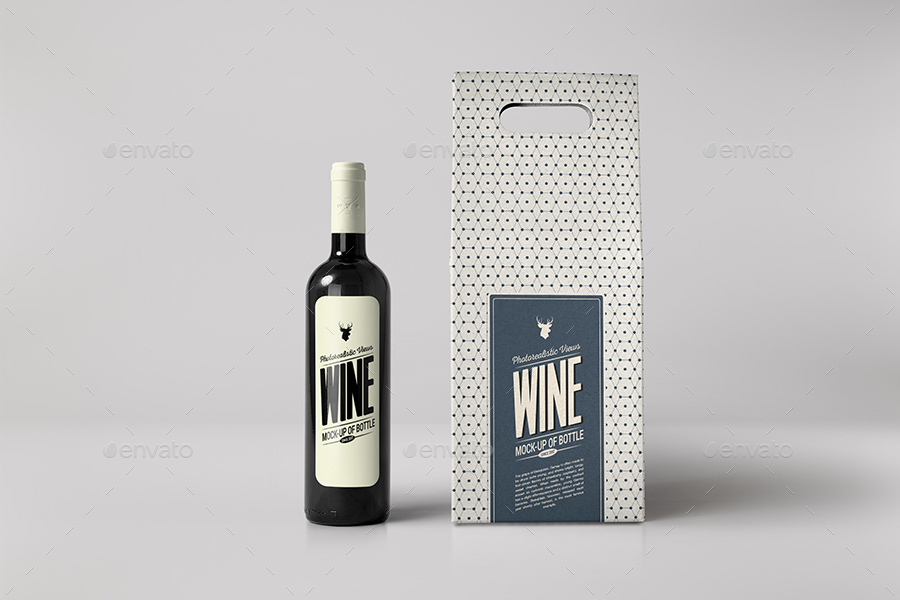 Wine Bottle and Box Mock up