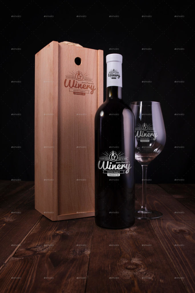 Wine Bottle and Box Mockups