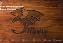 Free Wood Engraved Logo Mockup PSD Template