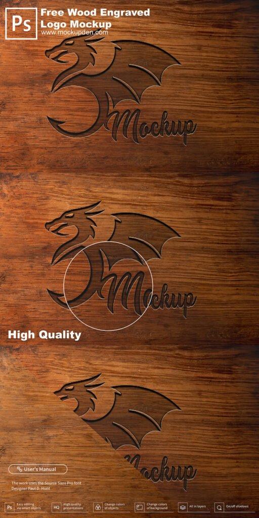 Free Wood Engraved Logo Mockup PSD Template