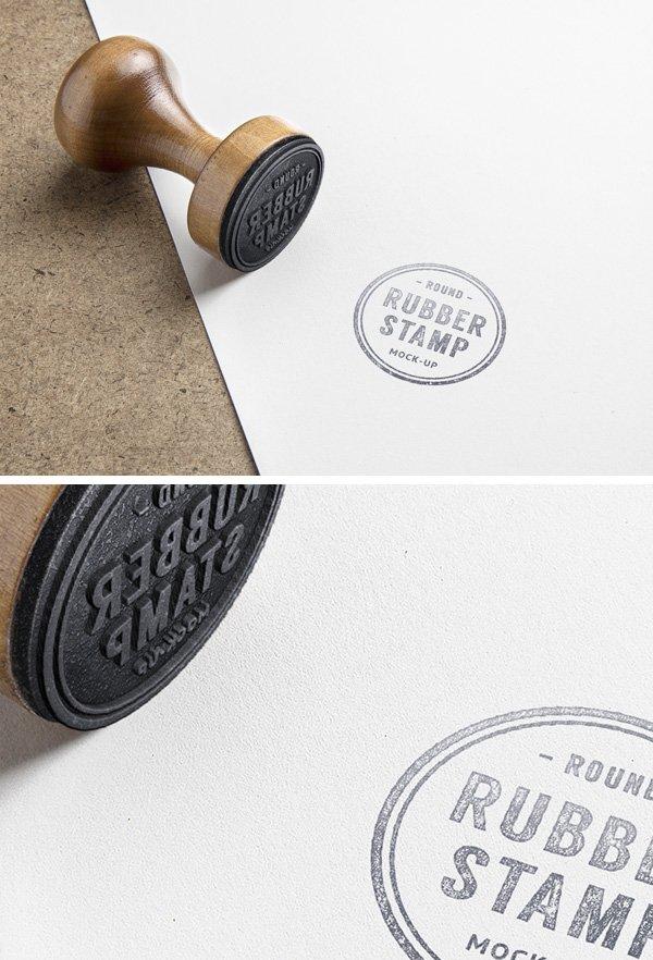 Wooden Stamp PSD Mockup