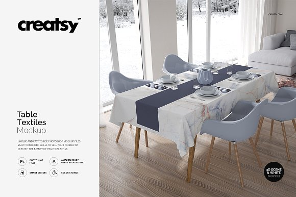 Wooden Table Dining Set Mockup Free PSD
