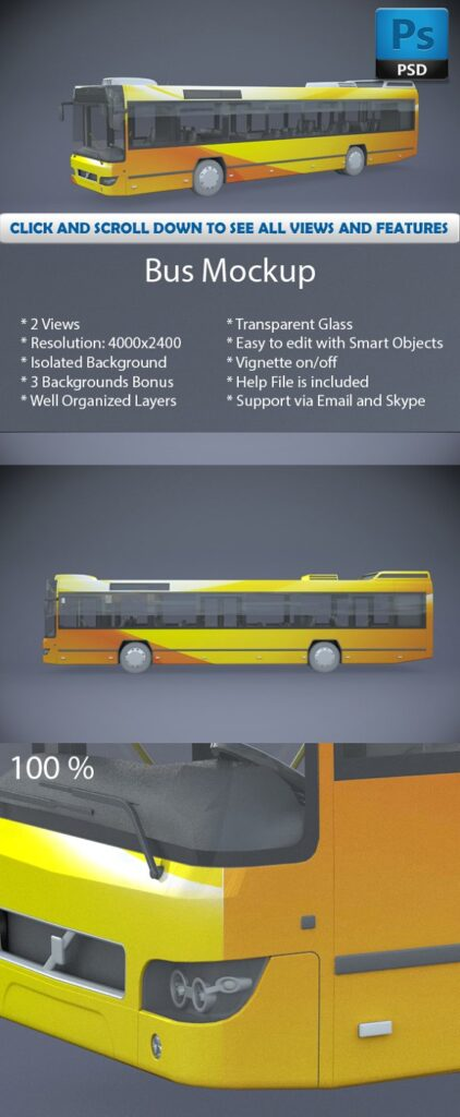 Yellow Color Bus Stand Mockup