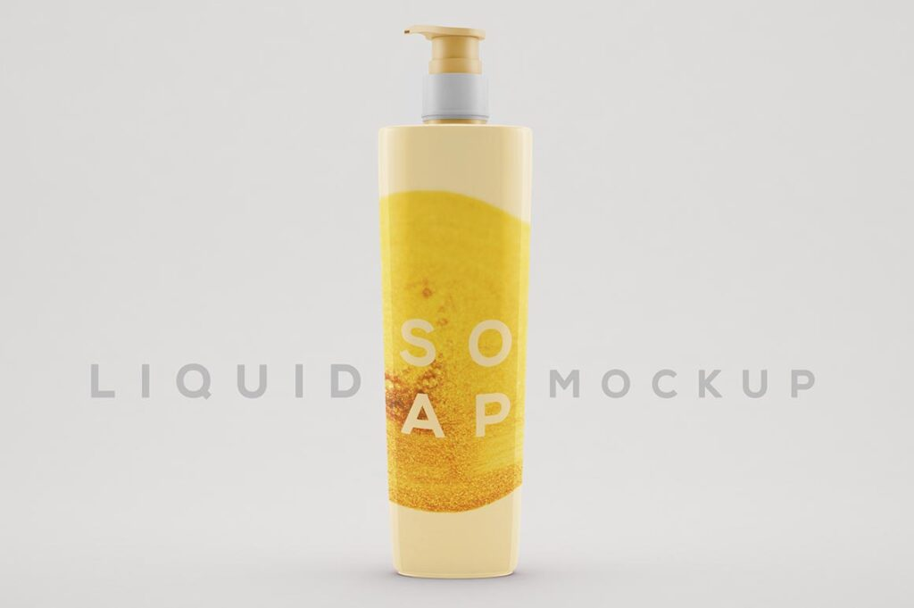 Yellow Color Shampoo Bottle Mockup