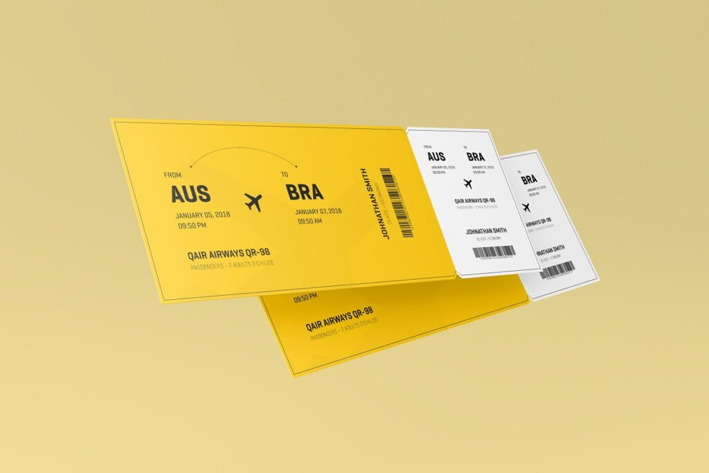 Yellow Color Ticket mockup