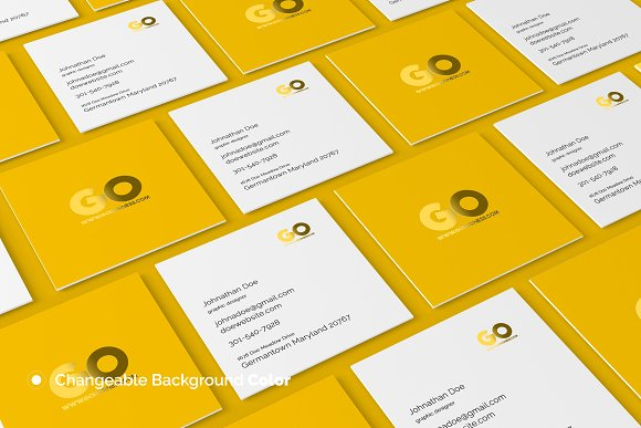 Yellow Colored Square Business Card Mockup Design