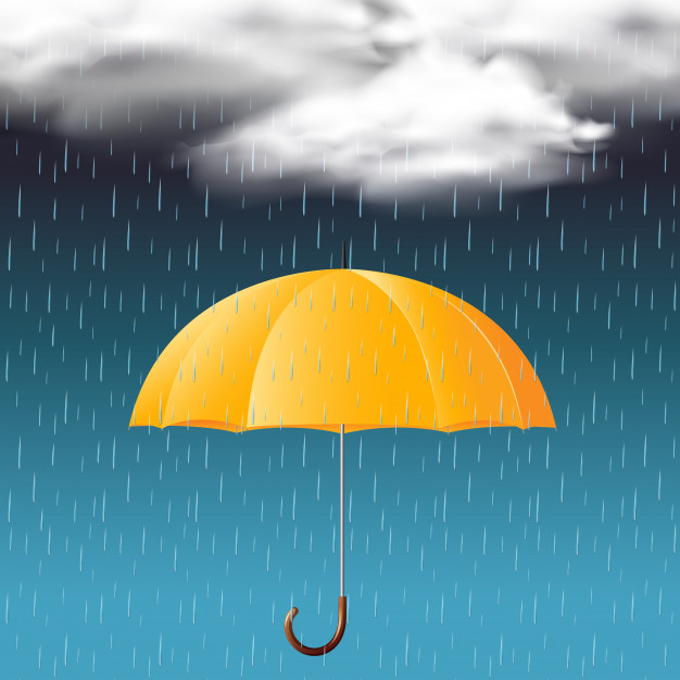 Yellow Umbrella In A Rainy Weather Vector.