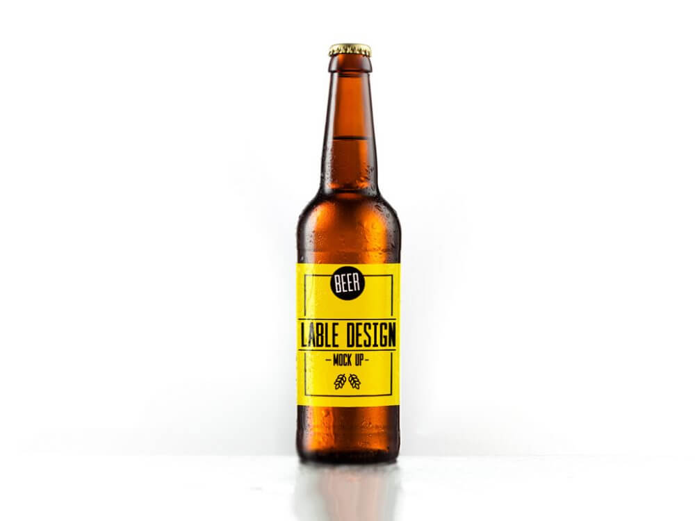 Yellow labelled beer bottle Design template: