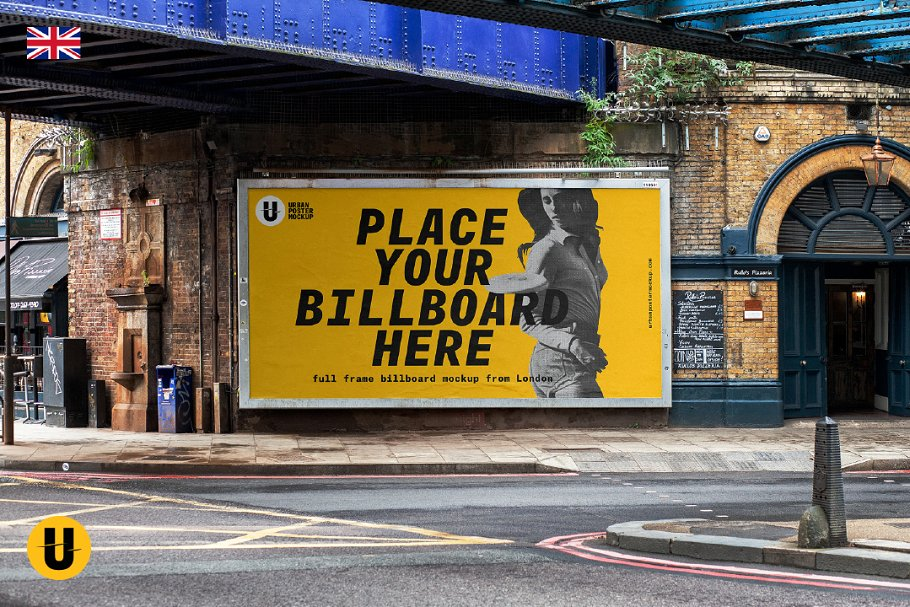 Yellow street billboard PSD illustration