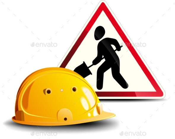 construction Sign Sticker And Hard Hat Photo