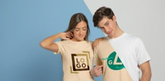 Free Couple Posing in T-shirts Mockup PSD Template