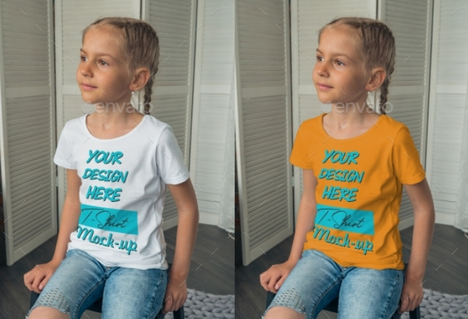 A Little Girl In Different Angle Wearing A White T-shirt Mockup.