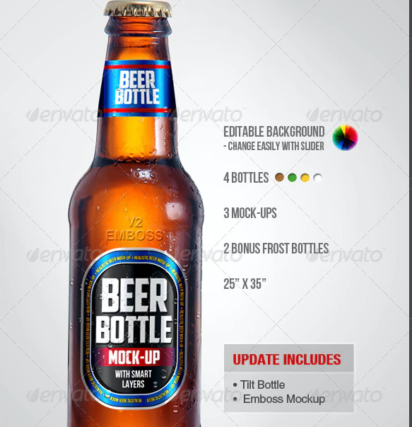 The Frost Look Beer Bottle PSD Mockup: