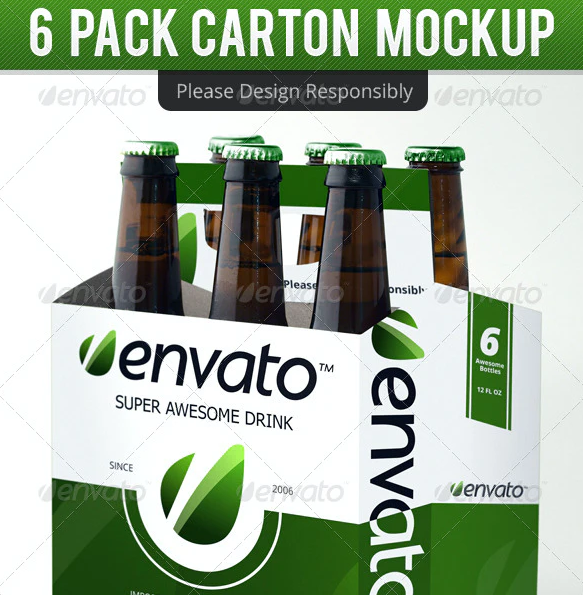 6 Pack Carton Mock Up: