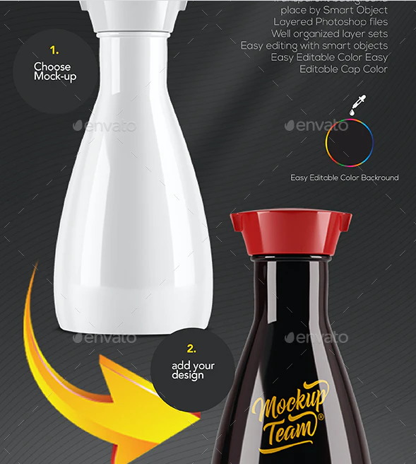 Soy Sauce Glass Bottle Mockup