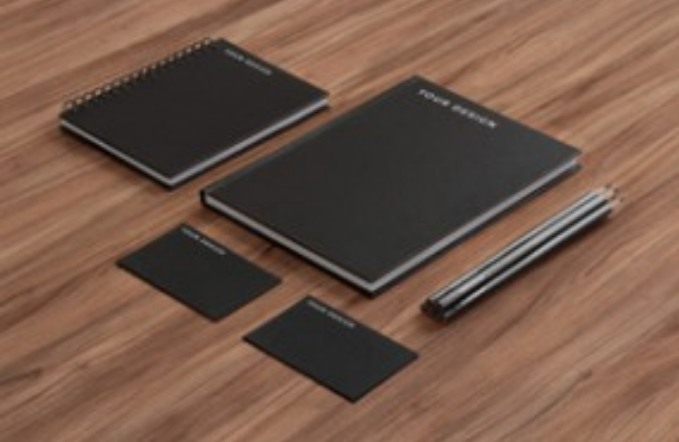 Black PSD Stationery and Pencil Editable Template