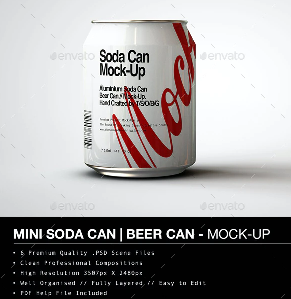 Mini Soda Can Beer Can PSD Illustration