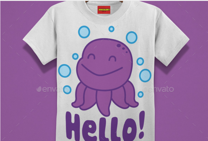 Octopus Printed T-shirts For Kids Mockup.