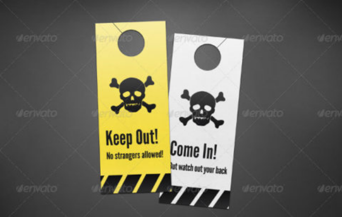 Danger Warning Door Hanger Mockup