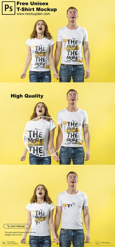 Free Unisex T-Shirt Mockup PSD Template