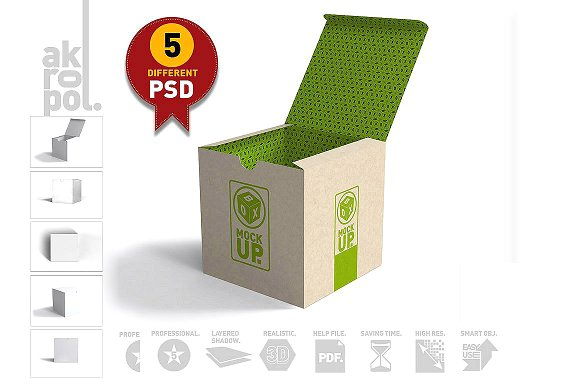 05 different Container Box Mockup PSD: