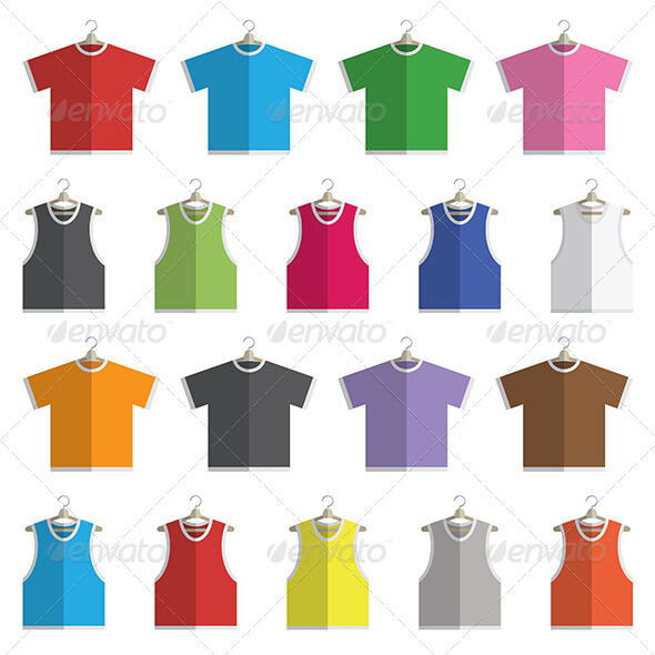 18 Different Colors Of Vest Vector.