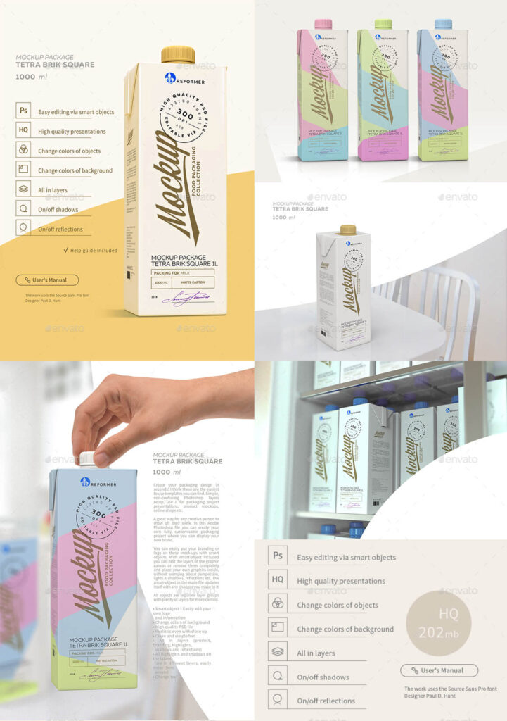 1l Milk Carton 5 Mock-Ups files