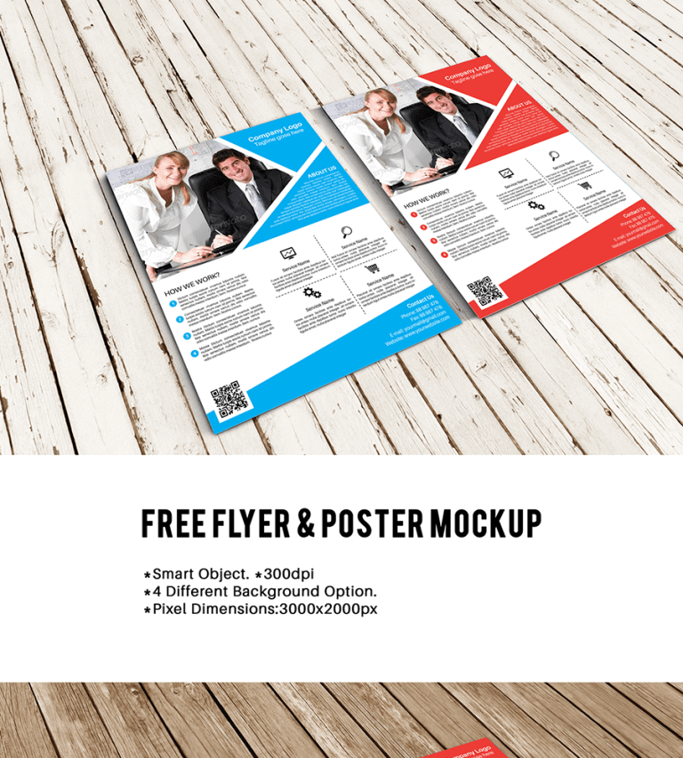 2 Business Flyer Kept On Wooden Table Mockup