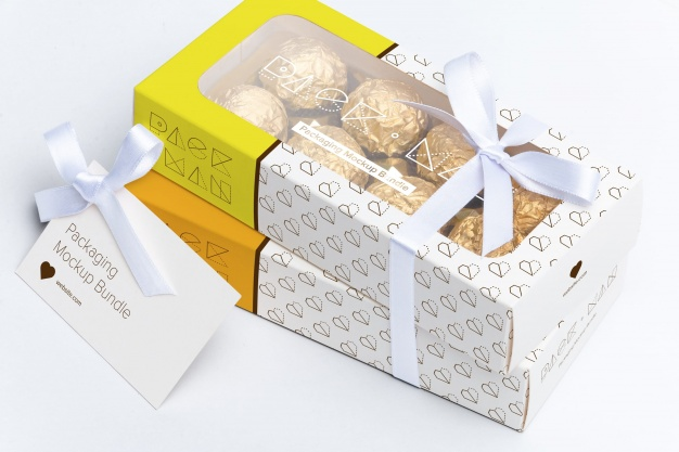 2 Chocolate Packing Box With Ribbon Tied Mockup