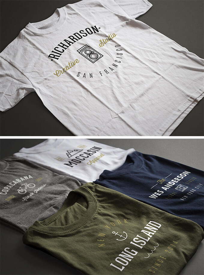 2 Photorealistic T-Shirt PSD Mock-ups template