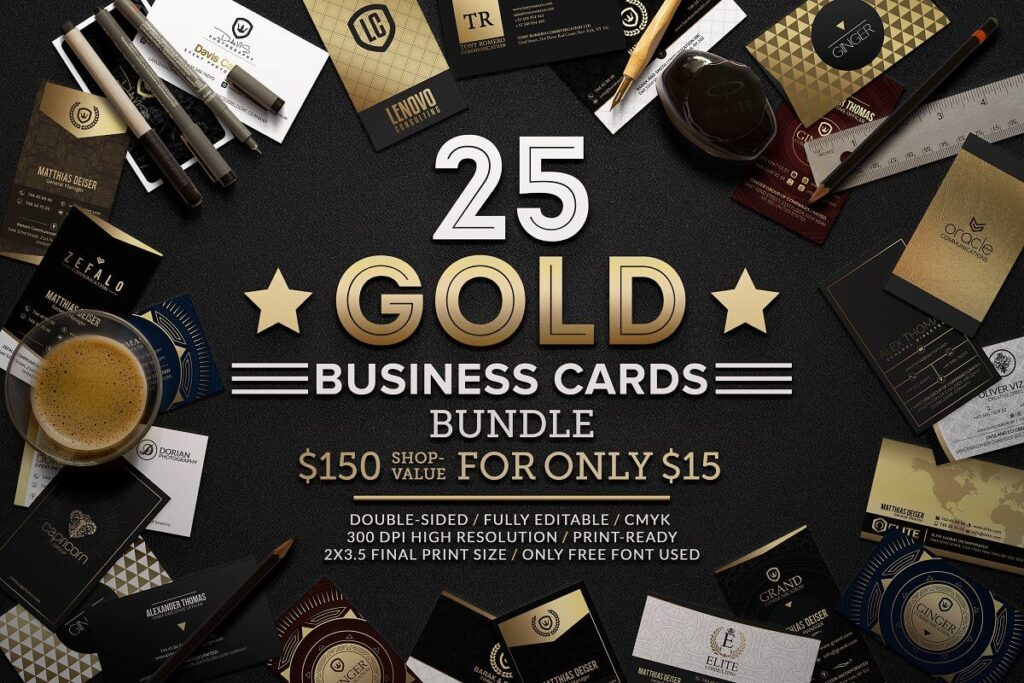 25 Gold Business Card Mockup Double Sided