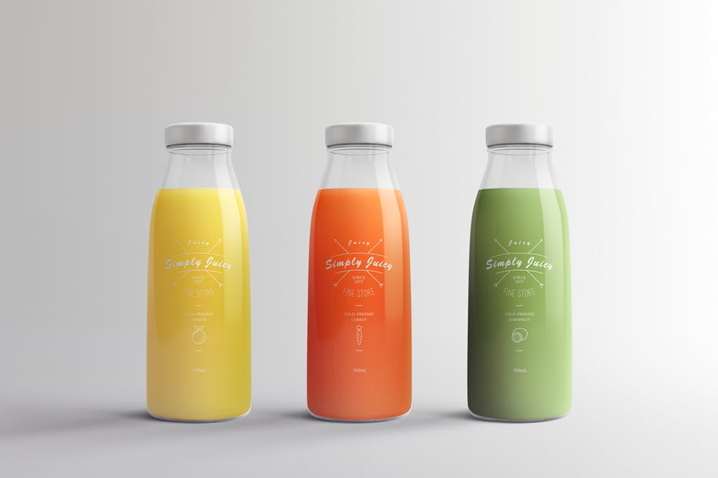 3 Juice Packaging Bottle PSD Template