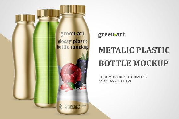 3 Metallic Plastic Bottle Mockup