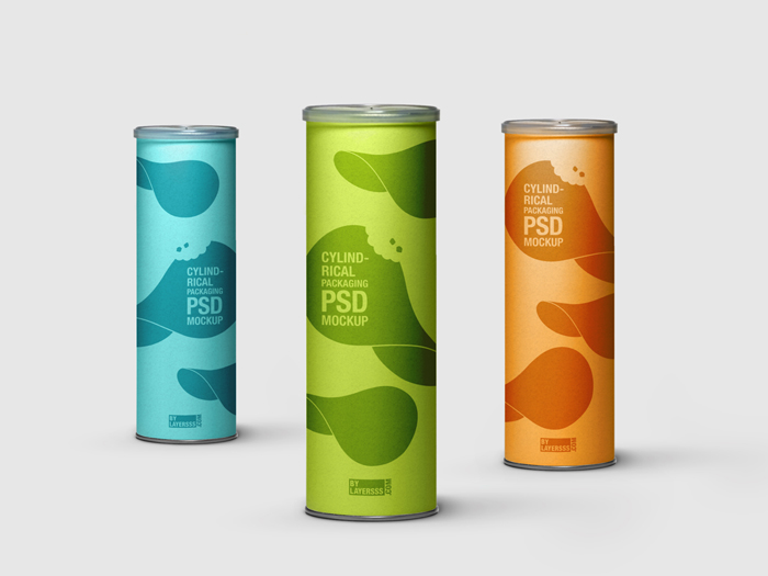 3 PSD Cylindrical Packaging Mockup