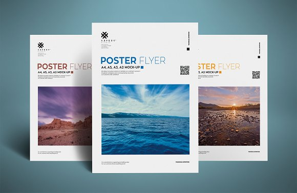 3 PSD White A4 Flyer Mockup PSD template