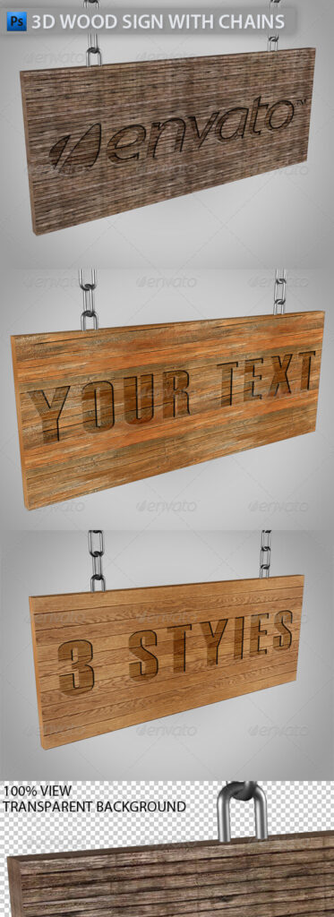 3D Dark Color Wooden Sign Board Mockup
