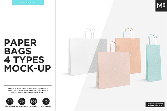 4 Paper Gift Bag PSD Design