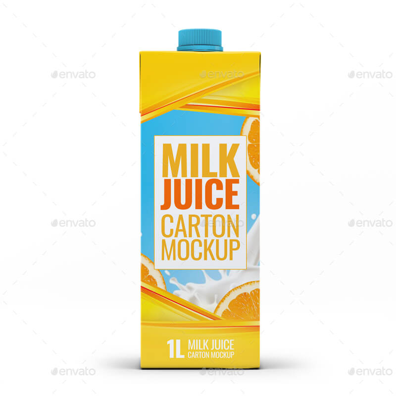 4 Types Milk / Juice Cartons Bundle Mock-Up