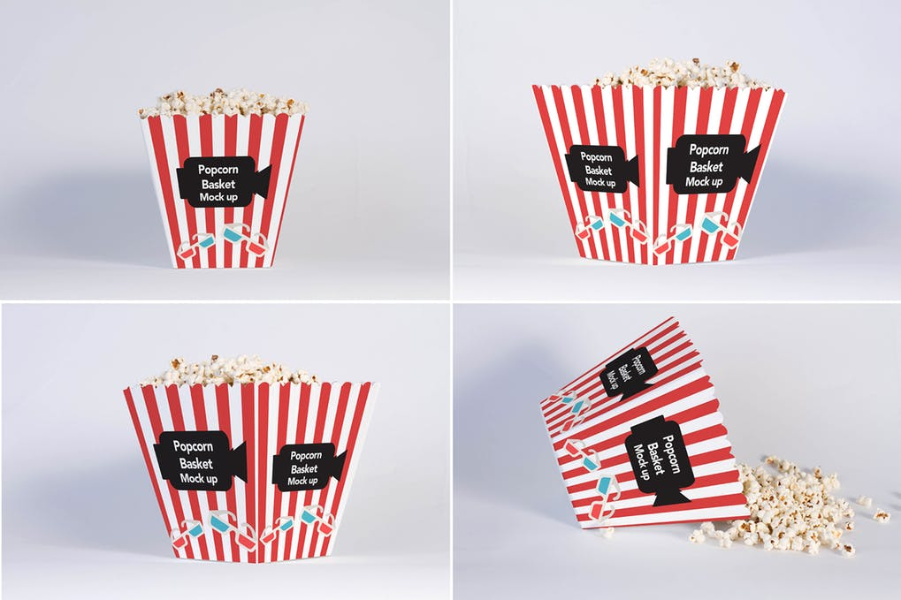 4 Views of Popcorn Pouches Mockup