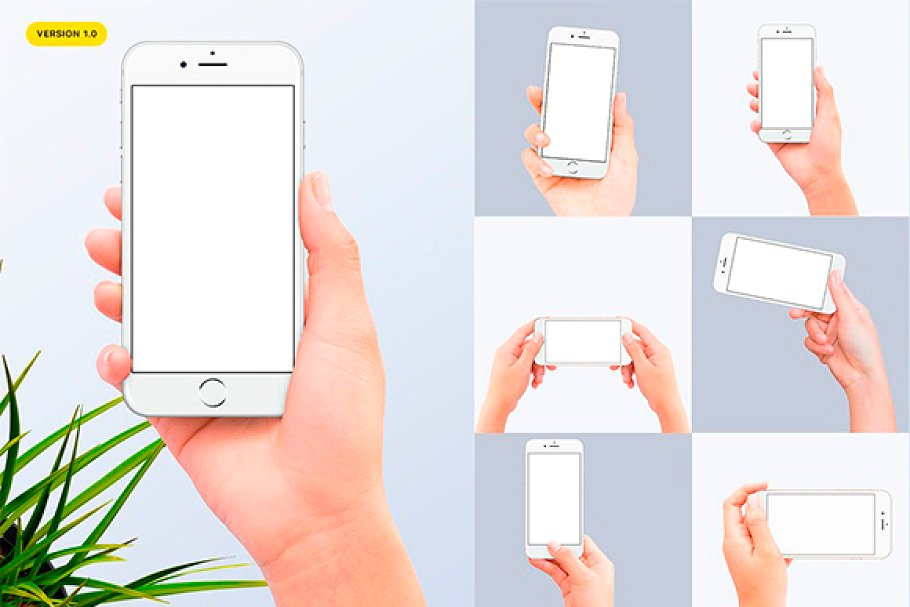 7 Different shots of iPhone Holding In Hands PSD.