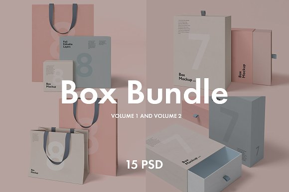 7 Gift Box And Bag Bundle Mockup