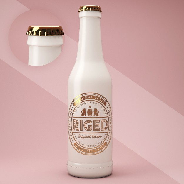 A Ceramic Glass Bottle With Golden Cap Mockup