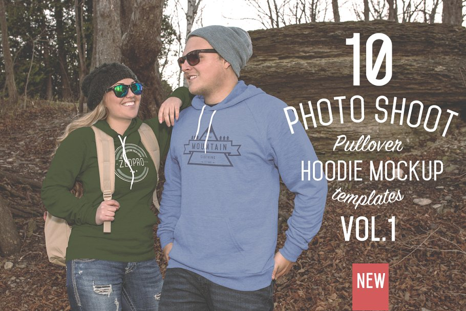 A Couple Wearing Pullover Hoodie T-shirt PSD Mockup.