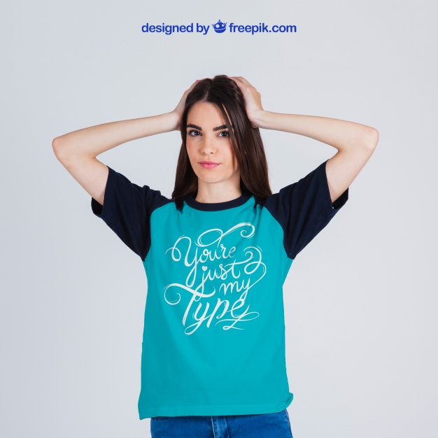 A Female In Blue Colored T-shirt Mockup.